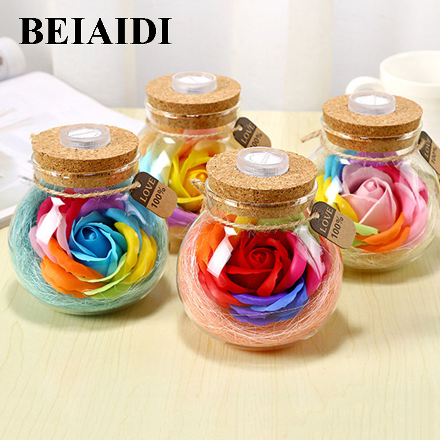 BEIAIDI 7 Color Changeable Mason Jar Bottle LED Night lamp With Cork Stopper Fairy Light Christmas Wedding DIY Bottle Lamps
