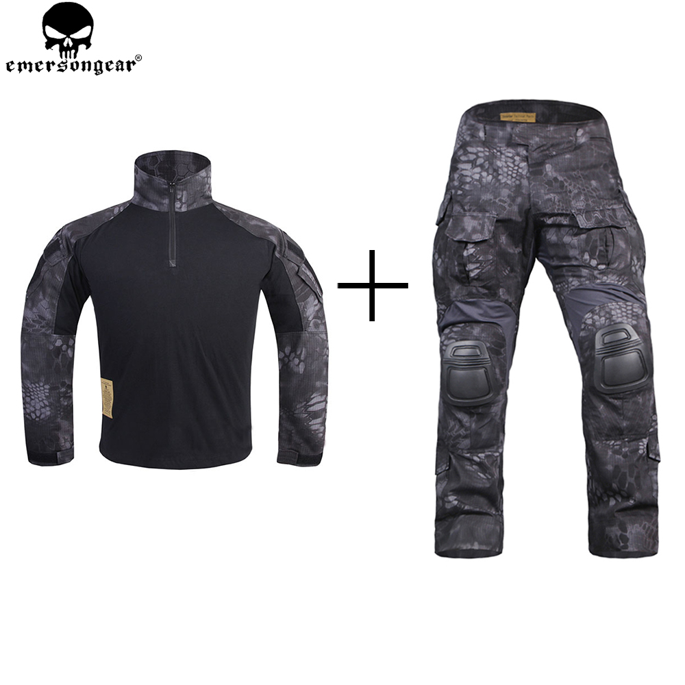 EMERSON Combat Uniform Shirt Tactical Pants with Knee Pads Hunting Clothes emersongear G3 Suit Combat Pants TYP/Typhoon g3 combat pants wolf grey 3d urban tactical combat pants teflon coating free shipping stg050796