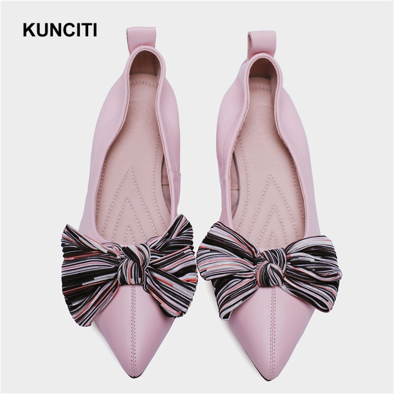 2019 Pink Wedding Shoes Womens Flat Shoes With Bow Tie Genuine Leather Oxford Shoes New Designer