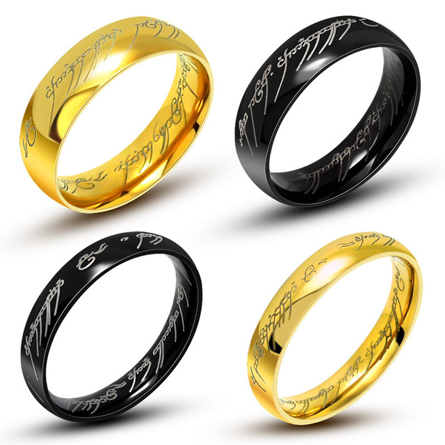one ring of power gold black the lord of rings 316l titanium stainless steel ring wedding - The One Ring Wedding Band
