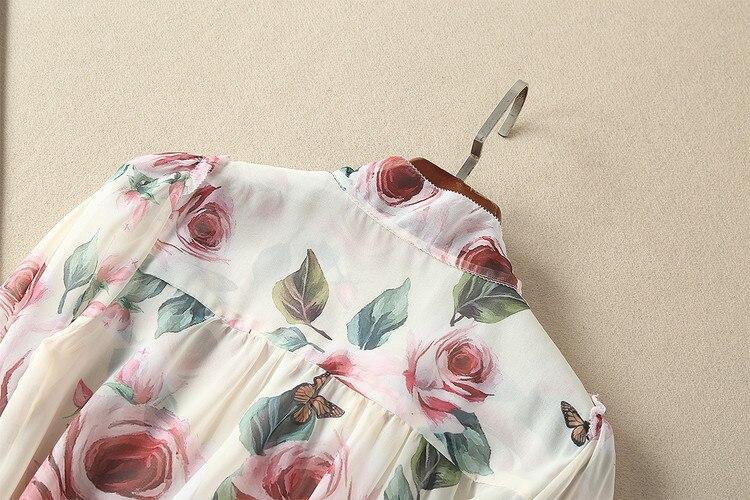 Hauts de piste 2018 printemps femmes élégant à manches longues imprimé Floral Bow soie mousseline de soie Blouse coréenne chemise femmes - 3