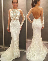 Fashion White 3D Flower Lace Applique Mermaid Evening Dresses Backless Formal Party Gowns Long Sleeve Prom dress