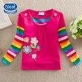 5 Unids/lote Neat 100% Algodón 2016 Nuevos de Manga Larga camisetas flores Bellamente bordado ropa de bebé niña camiseta F3900
