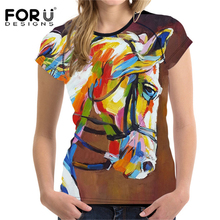 FORUDESIGNS t shirt Women T-shirt 2018 Summer 3D Amazing Horse t-shirt Woman Harajuku T Femmes Feminist Clothing Top Trend