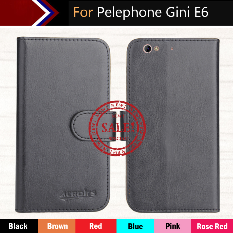 Pelephone Gini E6 Case 5.5 Factory Direct! 6 Colors Dedicated Leather Exclusive Special Phone Cover Crazy Horse Cases+Tracking