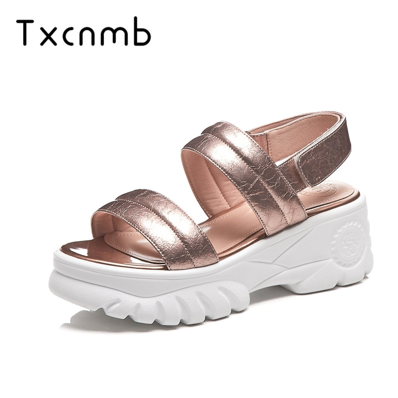 TXCNMB shoes woman 2019 top quality genuine leather sandals women simple summer shoes fashion flat platform