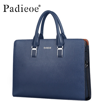 Black and blue genuine leather shoulder handbags new fashion messenger bags business men's briefcases bags with combination lock