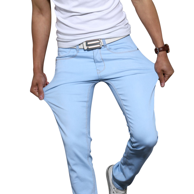Men's high quality cotton stretch skinny jeans 2018 fashion brand trousers sky blue white black blue brown khaki pants 28 to 38