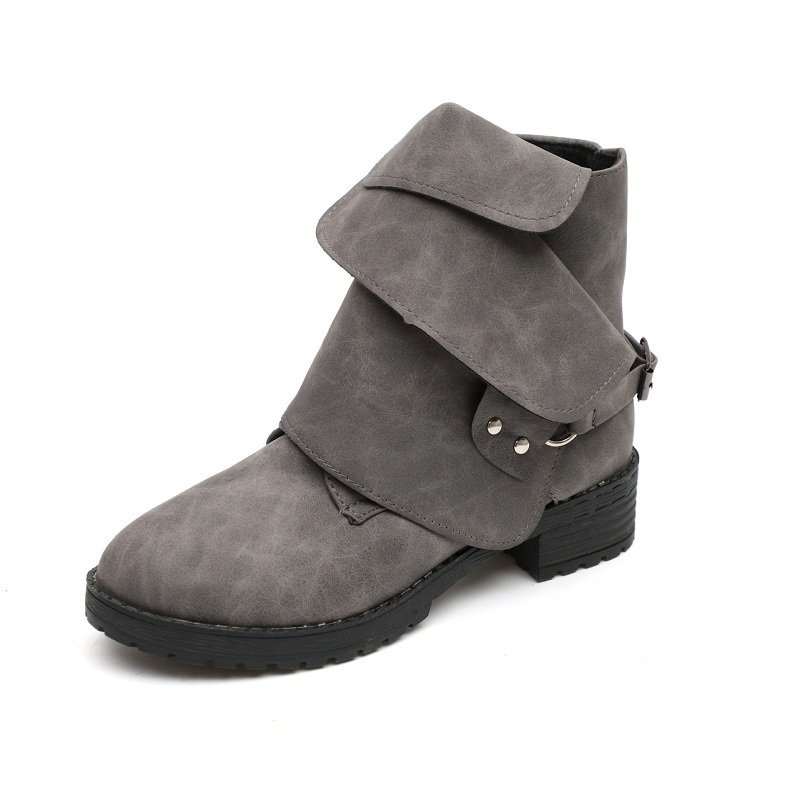 2018 autumn and winter suede womens shoes Europe and America large size flat with round head womens boots gray ljj 10262018 autumn and winter suede womens shoes Europe and America large size flat with round head womens boots gray ljj 1026