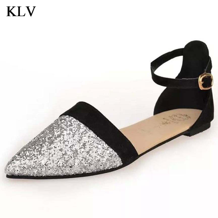 Women new spring Summer fashion sandals flat heels slippers casual pointed toe gladiator low buckle shoes Jan7 new spring summer women flats brand casual women shoes flat heels pu fashion crystal shoe pointed toe soft soles