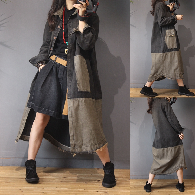 Spring Autumn Women Casual All-match Ultra Loose Plus Size Long Vintage Patchwork Water Washed Denim   Trench   Outerwear
