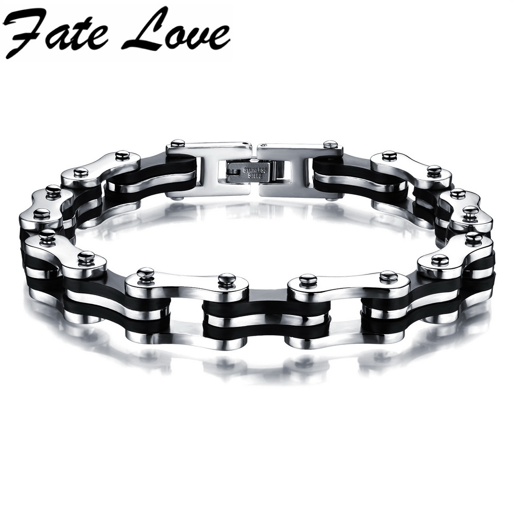 22 5CM 9MM Wide Stainless Steel font b Bracelet b font Men Biker Bicycle Motorcycle Chain