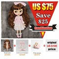 230BL9158 Free shipping Neo Blyth Doll Joint Doll Long Brown hair With Bangs pink clothes pink shoes matte face BJD