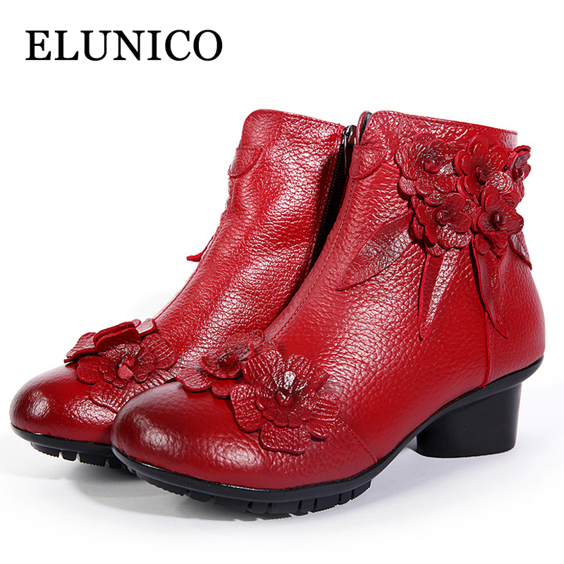 ELUNICO 2018 Winter Folk Style Women Boots Female Genuine Leather Casual Vintage Flowers Low Heels Boots Women Comfortable Shoes aiyuqi 2018 new spring genuine leather female comfortable shoes bow commuter casual low heeled mother shoes woeme