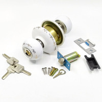 Country Style All White Ceramic door Lock With Round Ball handle