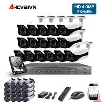 H.265 16CH 5MP POE NVR CCTV System 16pcs 4K security outdoor Audio Record Sound IP Camera 16CH Video Surveillance kit 2TB