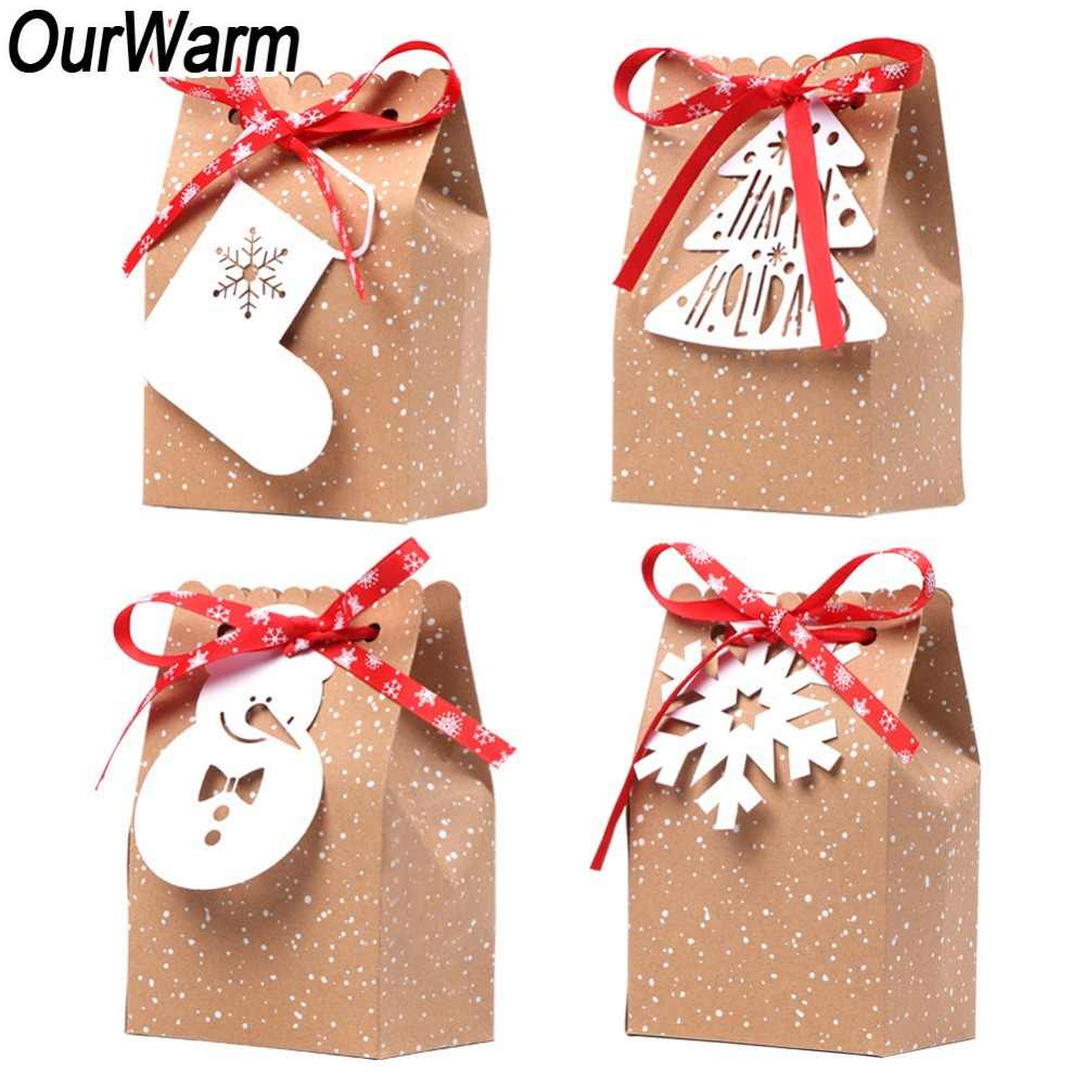 OurWarm 4Pcs Kraft Paper Bags Candy Bar Sweet Candy Cookie Packaging Box with White Tag Ribbon New Year 2019 Christmas Gift