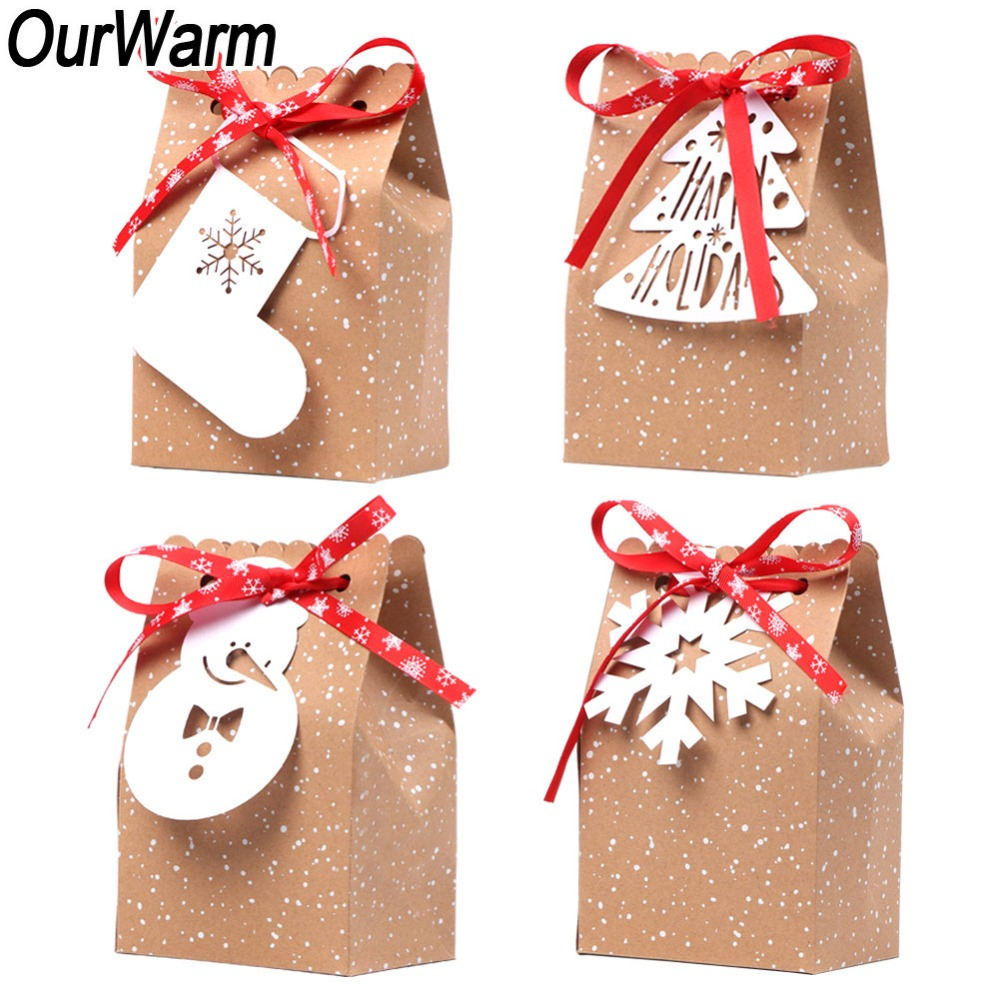 Christmas Gift Packing: OurWarm 4Pcs Kraft Paper Bags Candy Bar Sweet Candy Cookie
