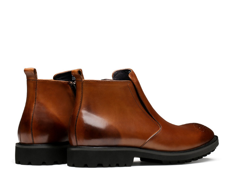 Black Stiefeletten Männlichen Büro brown Aus Mode Schuhe Herren Schwarz braun Echtem Kleid Leder Stiefel Chelsea AOx1RnU4