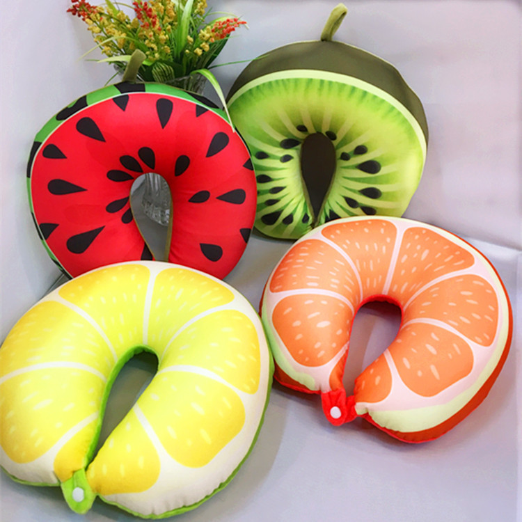 27 Cm Cartoon Pluche Fruit Watermeloen Oranje U-vormige Zachte Guard Breken Kussen Kantoor Rijden Hals Bus Slapen Kussen Knuffel Uitstekende Eigenschappen