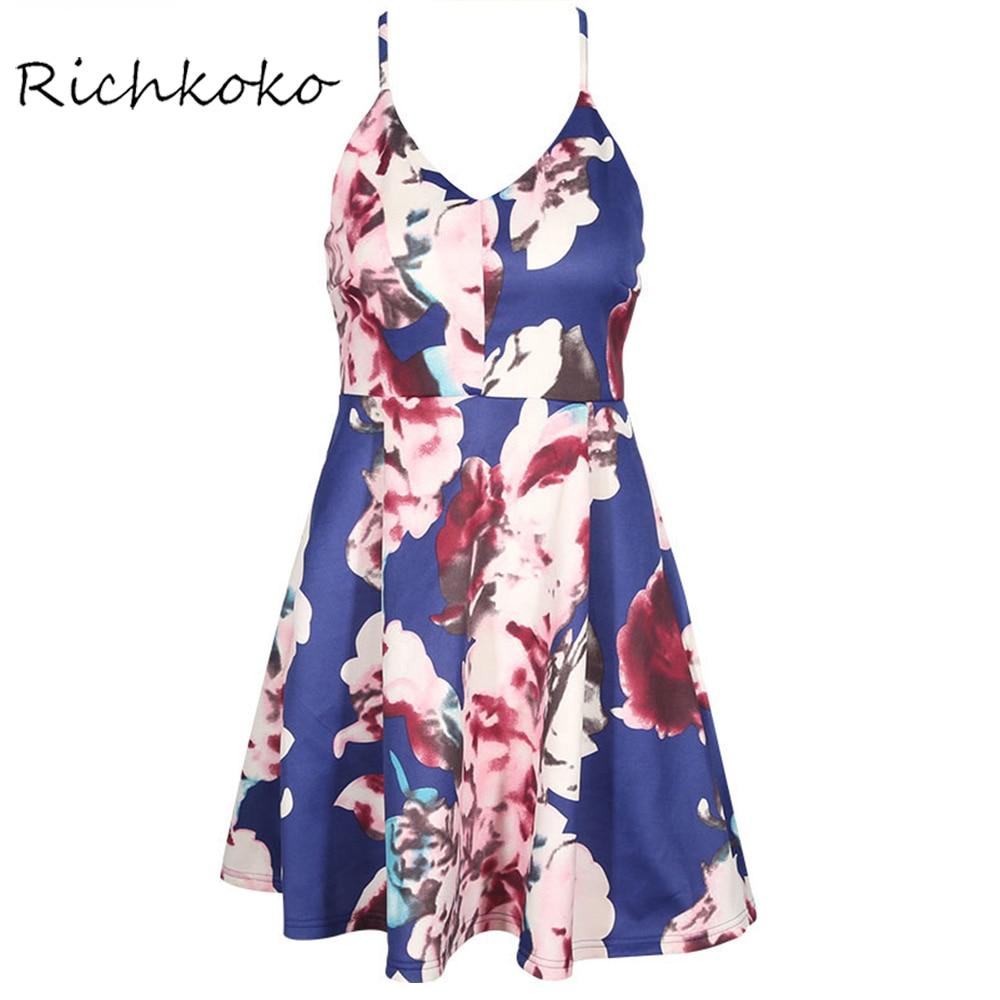 Richkoko Fashion Sexy font b Cami b font Strap font b Women b font Dress Vestidos