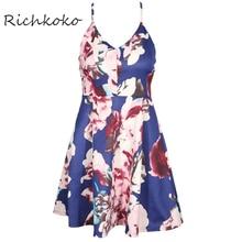 Richkoko Fashion Sexy Cami Strap Women Dress Vestidos Floral Print Sleeveless A-line Dress Off Shoulder Sweet Backless Dresses