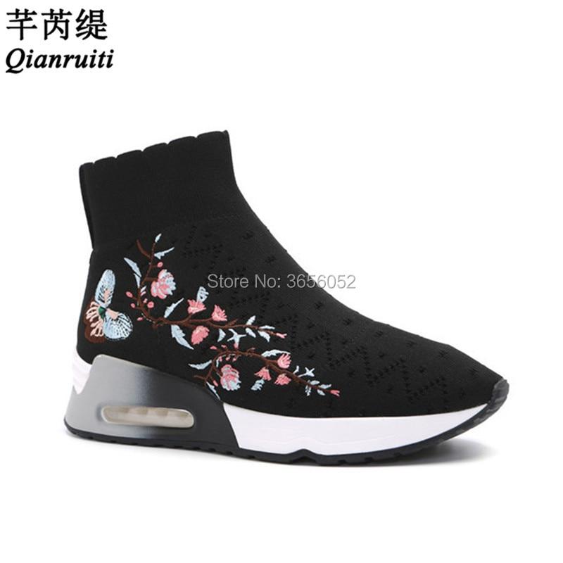 Bottes Chaussures forme Noir Slip Wedge Casual Tricoté Qianruiti Les Femmes Sneakers Botas Black Chaussette Plat Plate Talon Mujer Extensible Floral Sur Épais AAUqv8RF