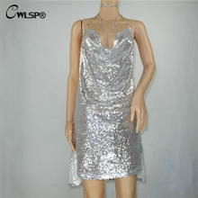 CWLSP Dress Club Wear Womens Sequined Diamond Sexy Backless Halter Dresses Femme Evening Party Split Dress Vestidos QZ1945