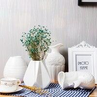 Modern Stylish Geometric Ceramic Vase Home Decoration White Flower Vase European fish shaped milk bottle vase