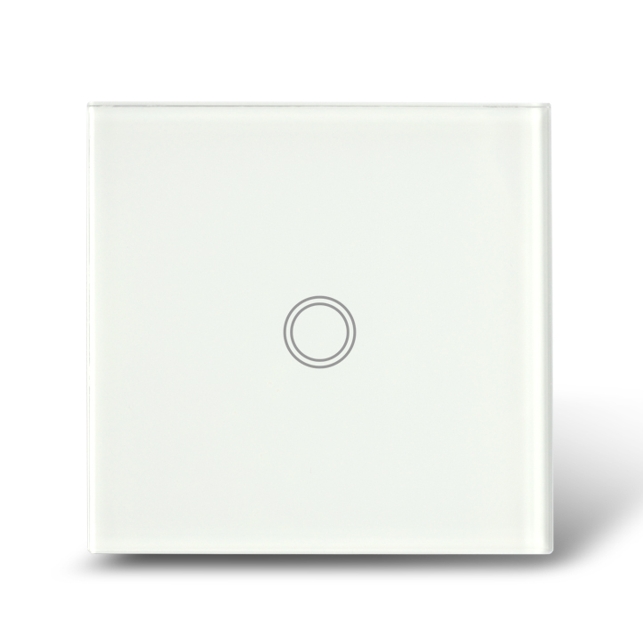 European Standard Touch Light Switch 1 Gang Way, White Crystal Glass Panel Electronic Wall Switches , CE approval