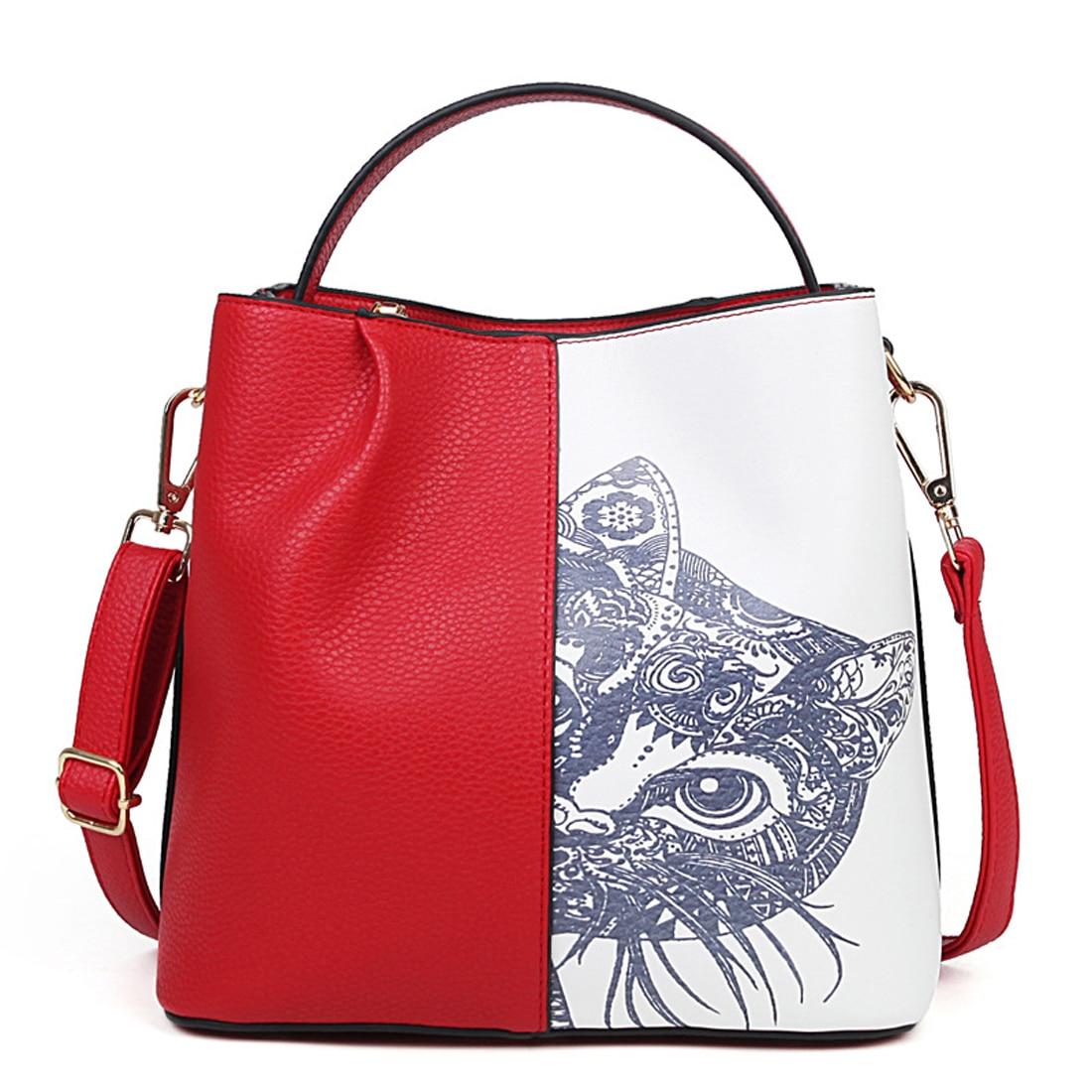 2017 Cat Printed PU Leather Large Capacity Women Bag Fashion High Quality Ladies Handbags Tote Bag