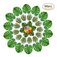 60PCS Hawaii Style Beach Party Decoration Leaves Set Table Theme Supplies