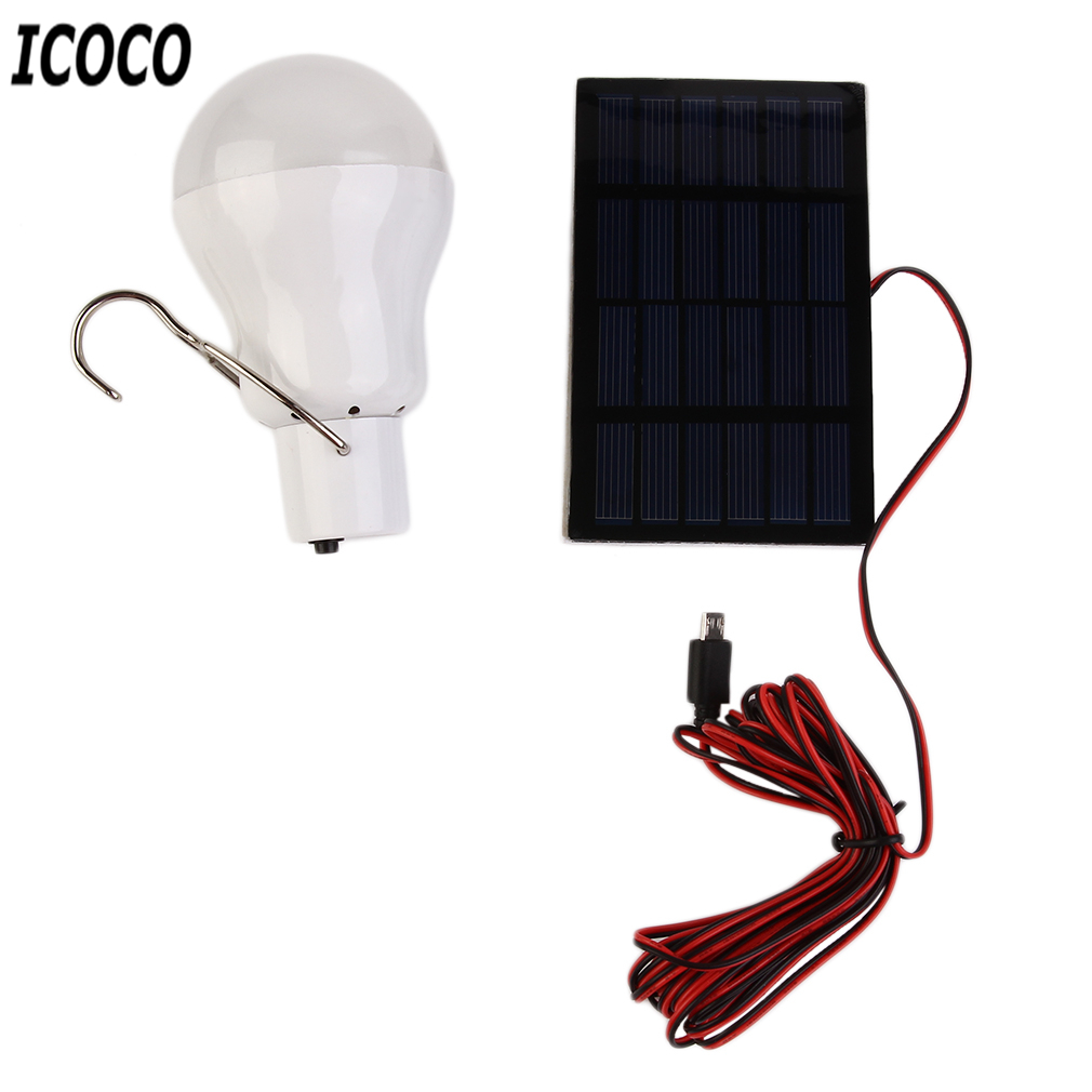 ICOCO 1pc Portable Outdoor Solar Powered Charge LED Bulb 15W 130lm Light+Solar Panel For Tent Camping Hiking Fishing Hot Sale