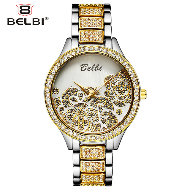 Belbi Women's Wrist Watches Luxury Ladies Gold Wristwatch Crystal Waterproof Japan Quartz Movement AAA China Female Watch Brand