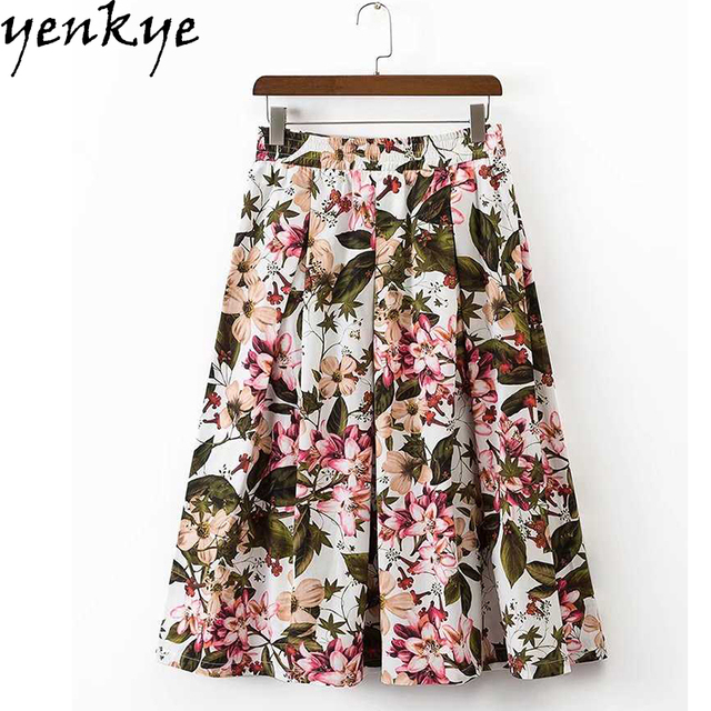 0adcad5cfc Verano 2017 mujeres vintage floral impreso elástico de alta cintura falda  Faldas Mujer estilo europeo BIG