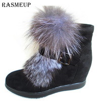 RASMEUP Women Fashion Fox Fur Height Increasing Ankle Boots Fashoin Winter Zip Buckle Platform Short Booties