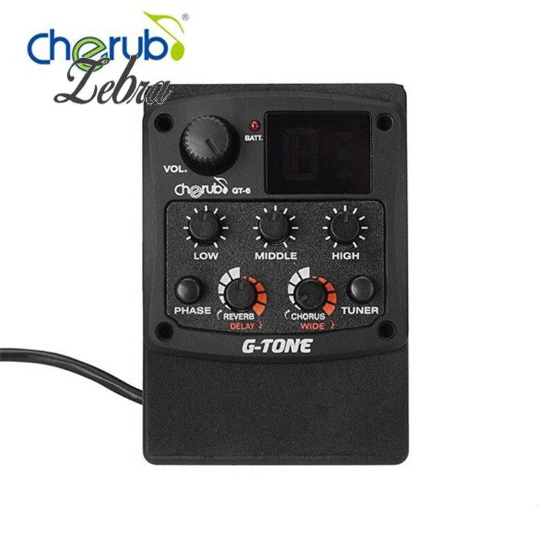 Cherub GT-6 Acoustique Guitare Preamp Piezo Ramassage 3-Band EQ Égaliseur LCD Tuner avec Reverb/Delay/Chorus/Large effets + Batterie