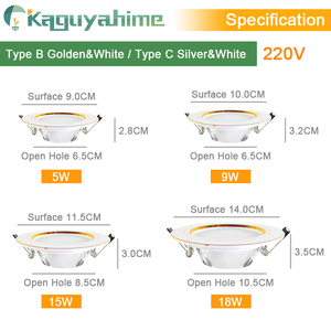 Image 4 - Kaguyahime LED Downlight 220V 240V LED Ceiling Lamp 18W 15W 12W 9W 5W 3W Gold/Silver/White Round Recessed Light LED Spotlight