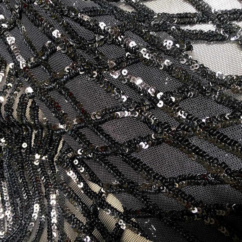 Черная эластичная сетчатая ткань с блестками для платьев