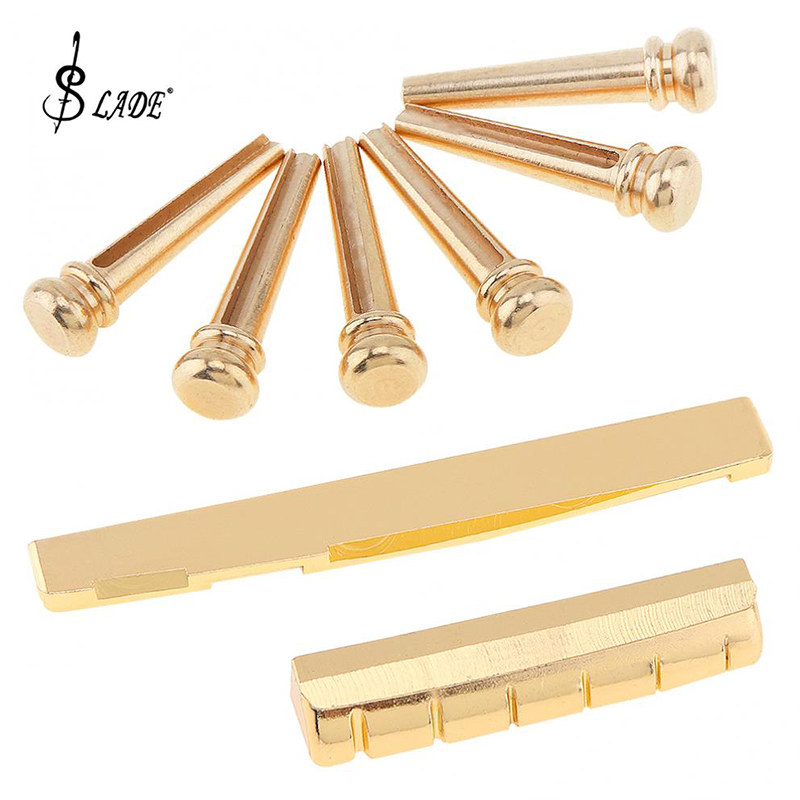 Slade 6pcs Golden Brass <font><b>Bridge</b></font> Pins & <font><b>Bridge</b></font> Nut <font><b>Saddle</b></font> Set for Folk <font><b>Acoustic</b></font> <font><b>Guitar</b></font> Accessories image
