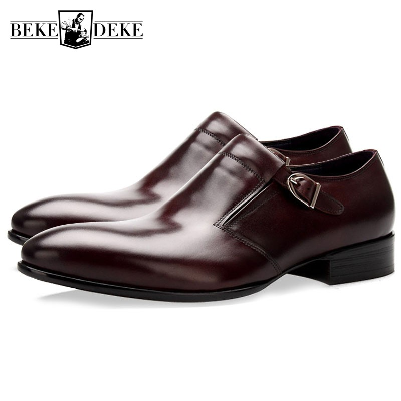 Designer Office Real Leather Derby Shoes Men England Style Pointed Toe Buckle Formal Footwear Casual Party Dress Sapato SocialDesigner Office Real Leather Derby Shoes Men England Style Pointed Toe Buckle Formal Footwear Casual Party Dress Sapato Social