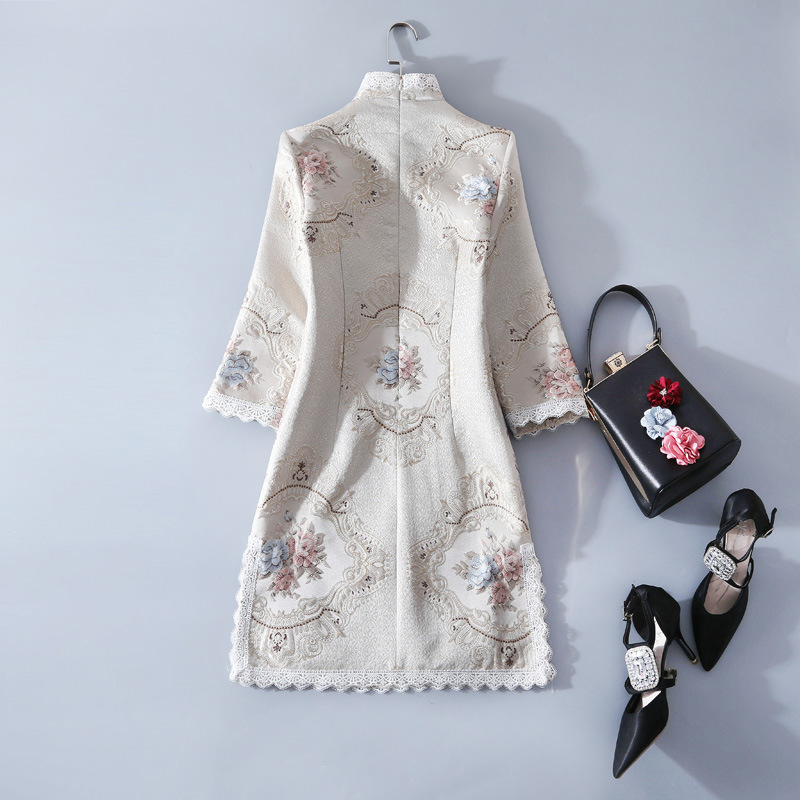 New Spring Clothing Girls National Daily Improved Cheongsam Stand Collar Plate Buttons Lace Short Dress Female