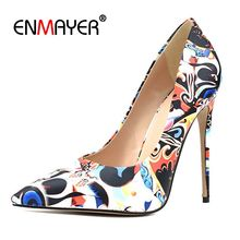 цена на Enmayer  Basic  Super High Thin Heels  Womens Shoes Heels  Pointed Toe  Casual  Slip-On  Pumps Women Shoes Size 34-43 LY1305