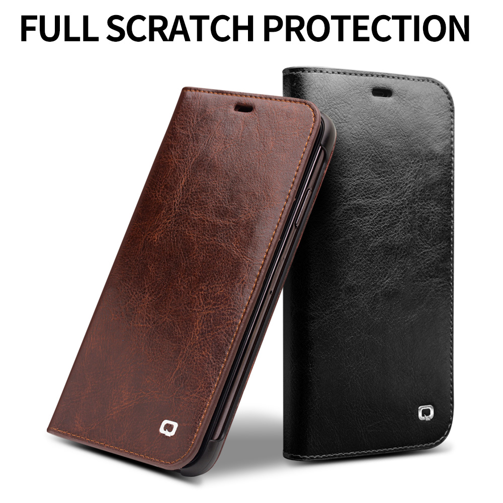 Image 3 - QIALINO Luxury Ultra Slim Phone Case for iPhone XS/XR Handmade  Genuine Leather Wallet Card Slot Bag Flip Cover for iPhone XS MaxFlip  Cases