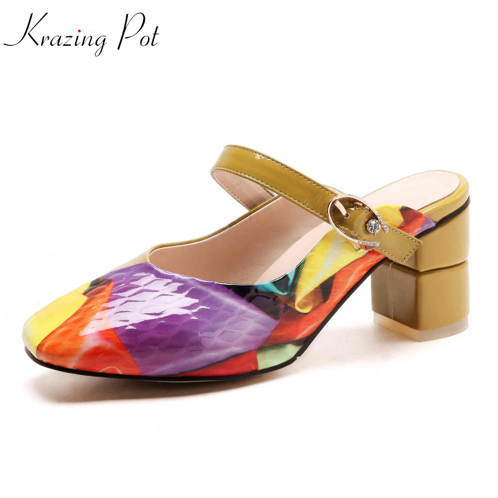 Krazing pot cow leather wedding wedges high heels summer colorful shallow square toe slip on dinner party luxury cozy pumps L3f1 krazing pot fashion brand shoes genuine leather slip on pointed toe concise lazy style strange high heels women cozy pumps l73
