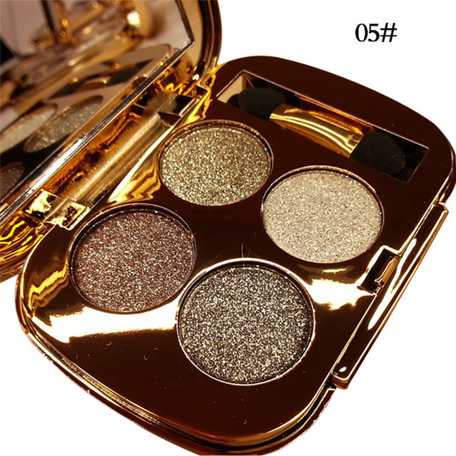 Professionelle Augen Make Up 4 Farben Lidschatten Palette Gold Smoky Kosmetik Make Up Palette Diamant Helle Glitter Lidschatten