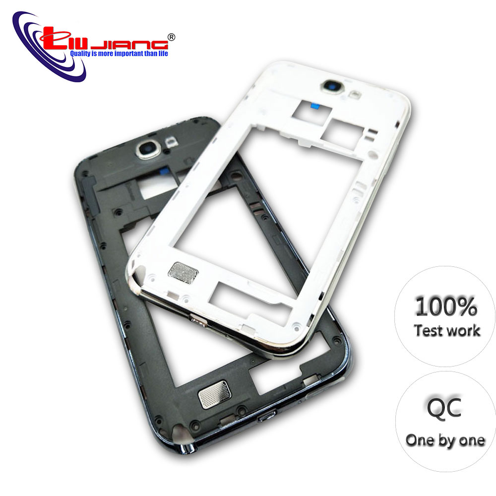 Original Middle Frame Housing Bezel For Samsung Note 2 N7100 N7105 Middle Plate Rear Housing Side Buttons Replacement