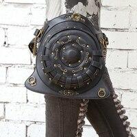 2017 Quality PU Leather Unisex Motorcycle Rider Hip Leg Belt Bum Waist Bags Round Punk Rock