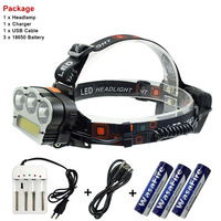 WasaFire Super Bright Headlamp T6 Led COB Headlight Outdoor Camping White Red Light Led Head Lamp With 18650 Battery + Charger