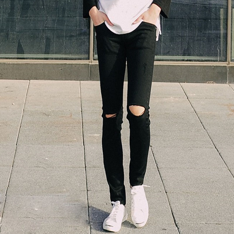 Ripped Distressed Black Skinny Jeans - Xtellar Jeans